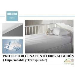 PROTECTOR COLCHÓN CUNA PUNTO 100% ALGODÓN IMPERMEABLE