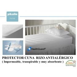 PROTECTOR COLCHÓN CUNA RIZO ALGODON ANTIALÉRGICO