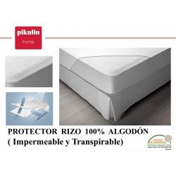 Protector colchón no acolchado Rizo algodón Impermeable
