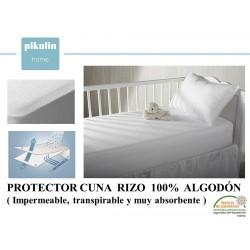 PROTECTOR CUNA RIZO ALGODON 100% IMPERMEABLE