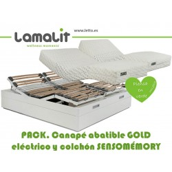 PACK CANAPE ABATIBLE ARTICULADO GOLD/COLCHÓN SENSOMEMORY LAMALIT