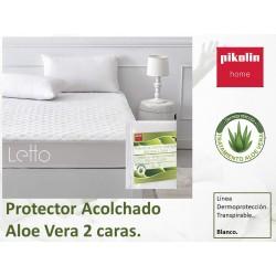 Protector Acolchado Aloe vera Microfibra 2 caras Trnaspirable